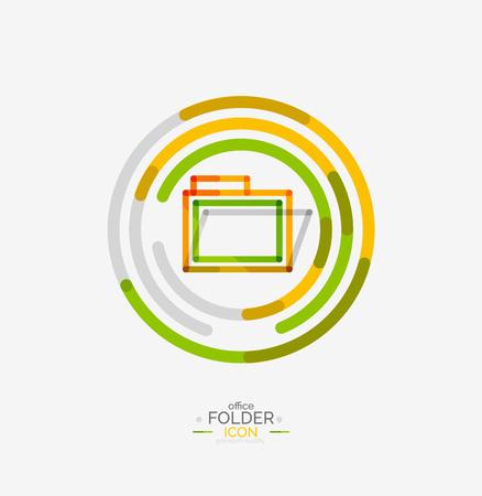 accounting logo: Folder icon, stamp. Accounting binder