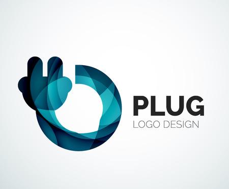 Kort bedrijf logo design elemnet - plug icoon Stock Illustratie