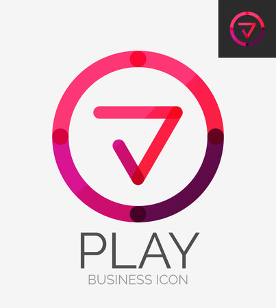 play icon: Minimal line design, business icon, branding emblem