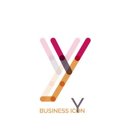 Minimal line font design, letter Y. Business icon Vector