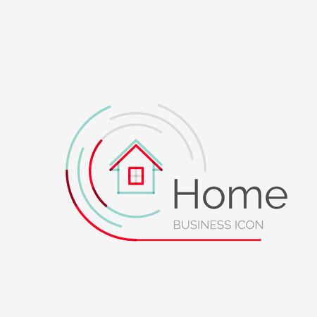 얇은 라인 깔끔한 디자인 로고, 깨끗하고 현대적인 개념, 집, 집 생각 스톡 콘텐츠 - 35024804