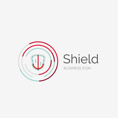 Thin line neat design logo, clean modern concept, shield icon Vector