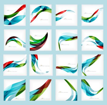 Set van collectief abstracte achtergronden, golf brochure of flyer ontwerp sjablonen