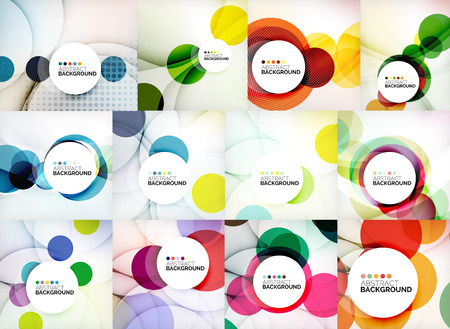 paper graphic: Set of circle abstract backgrounds.