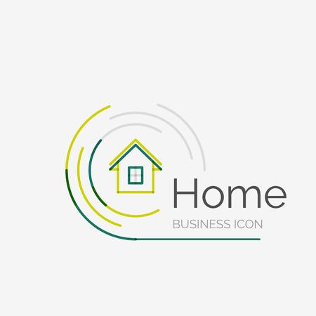 Dunne lijn keurig design icoon, huis idee