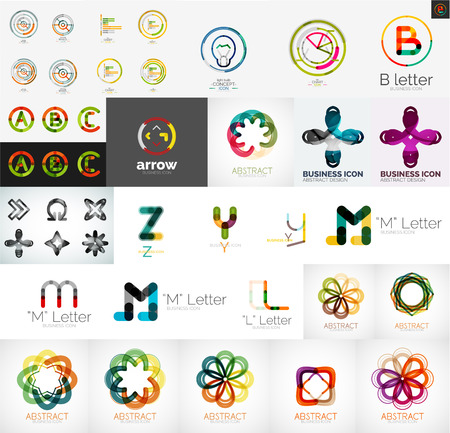 Set of universal company logos and design elements Vector