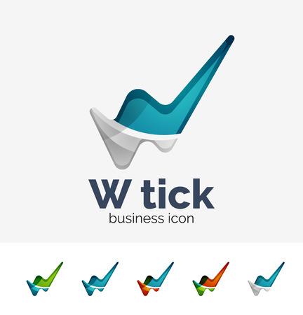 Modern tick abstract wave logo set Vector