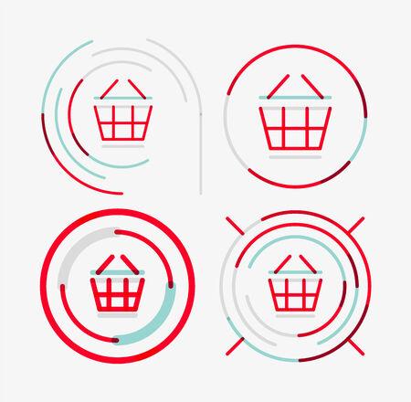 Thin line neat design logo set, shopping cart icon Vector