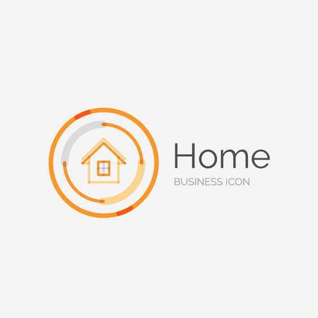 residential homes: Thin line neat design logo, home idea Illustration