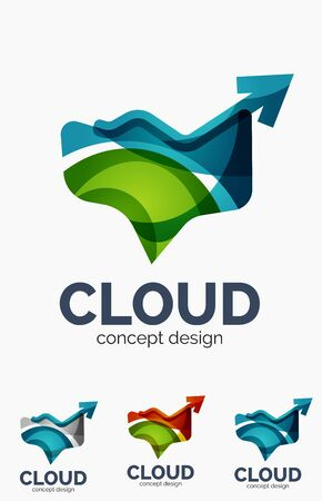 Modern cloud icon set Vector