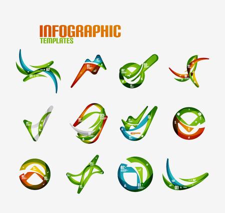 Set of modern wave business infographics Vector