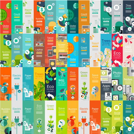 global communication: Mega collection of flat web infographic concepts Illustration