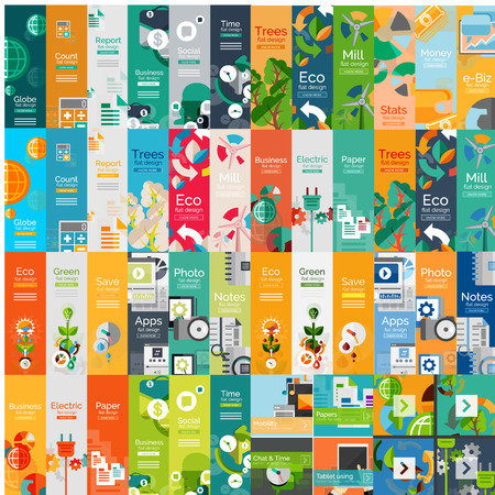 Mega collection of flat web infographic concepts Ilustração