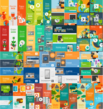 Mega collection of flat web infographic concepts Ilustrace