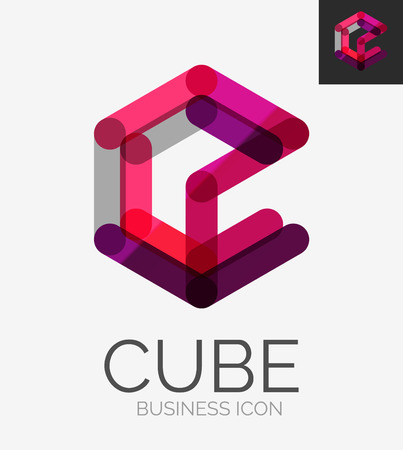 abstract cubes: Minimal line design logo