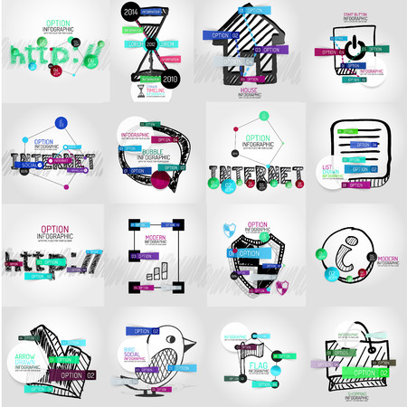 Hand-drawn vector symbols with infographic elements Vector