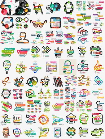 Huge mega set of infographic templates Ilustração
