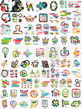Huge mega set of infographic templates Çizim