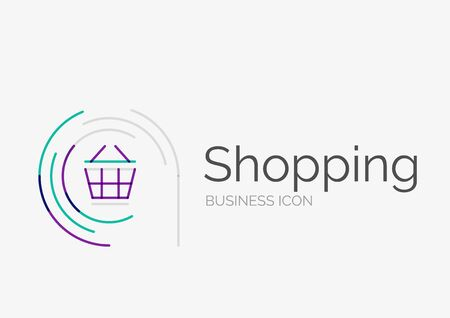 neat: Thin line neat design, shopping cart icon Illustration