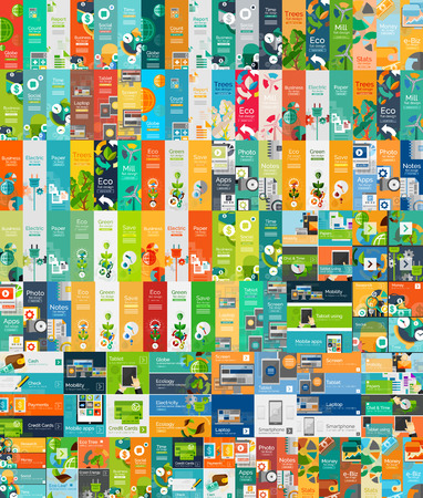 Mega collection of flat web infographic concepts Stock Illustratie