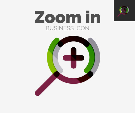 a round of inspection: Minimal line design, zoom icon Illustration