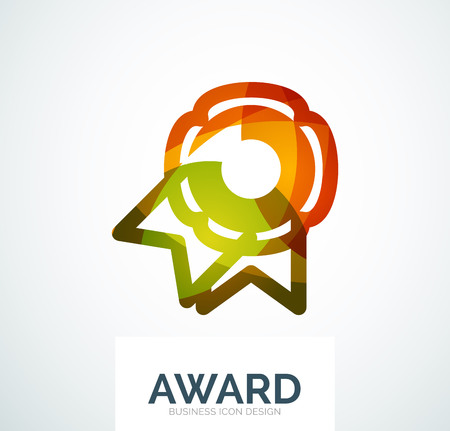 medal like: Colorful award business icon.