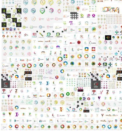 Enorme mega collectie van bedrijfslogo pictogrammen Stock Illustratie