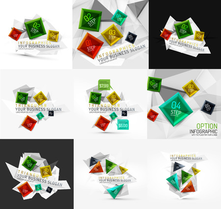 Set of vector fresh business abstract infographic Vector