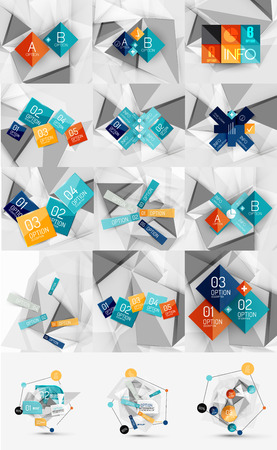 Mega set of color paper infographics Vector