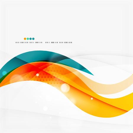 Blau, orange, rot Wirbel Wellenlinien. Lichtdesign Illustration