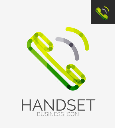 phone handset: Minimal linea logo, icona cornetta del telefono Vettoriali