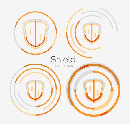 Thin line neat design logo, shield icon set Vector
