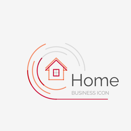 logo batiment: Mince ligne logo design soign�, la maison id�e