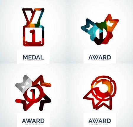 medal like: Colorful award business logo set