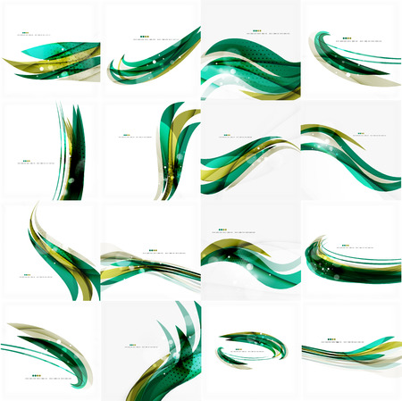 Green light lines on white presentation template