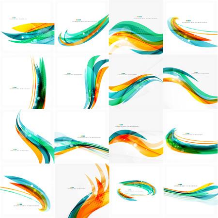 青、オレンジ、赤の渦巻波のライン。光のデザイン