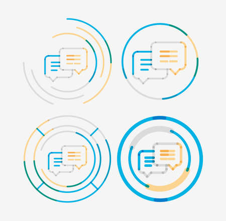 messages: Thin line neat design set, messages concept