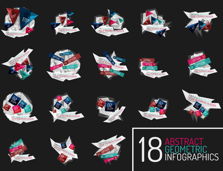 Set of modern polygonal origami paper infographics Vector