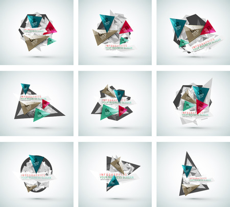 Set of triangle shape modern paper infographics Vector