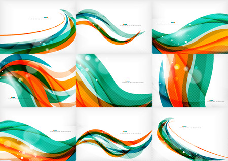 wave design: Green and orange lines modern abstract background