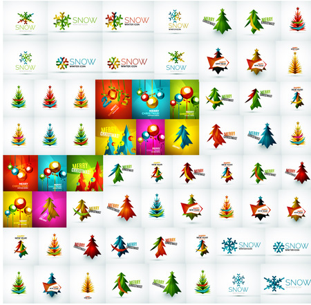Mega collection of Christmas and winter design elements Vector