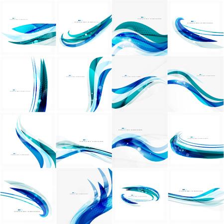 Blauw collectief golf lijn achtergrond Stock Illustratie