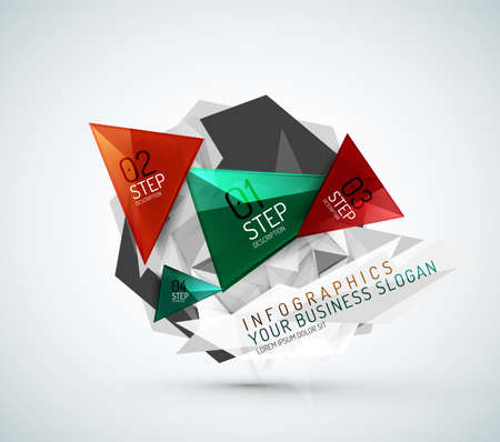 Triangle shape modern paper infographics Vector