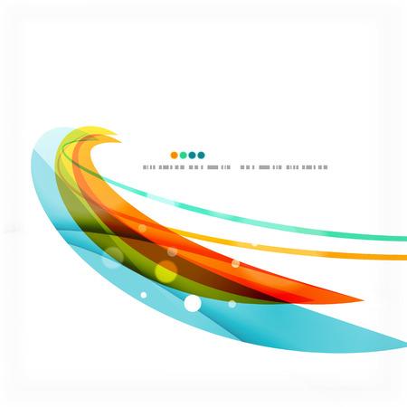Blue, orange, red swirl wave lines. Light design Vector