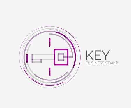 Minimal line design shopping stamps, key Vector