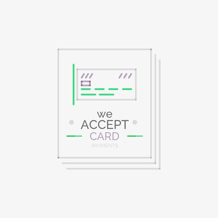 accepted: Line design shopping stamps, accept card label