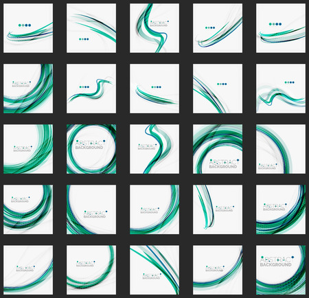 Blue and green color abstract waves Illustration