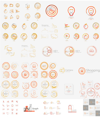 Vector mega set of linear stamp logos Vector
