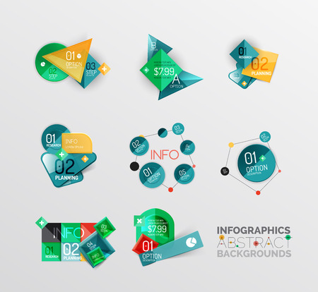 Set of geometric abstract shape infographic layouts Vector