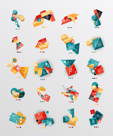Set of glossy paper style geometric abstract infographics Vector